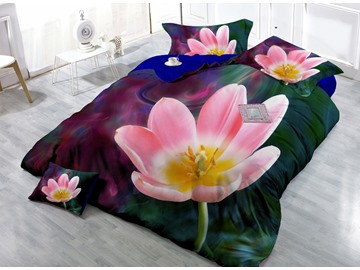 Adorable Pink Flower Digital Print 4-Piece Cotton Silky Duvet Cover Sets
