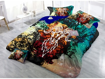 Starry Sky and Constellation Print 4-Piece Cotton Silky Duvet Cover Sets