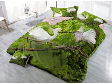 Silky Crane on the Tree Wear-resistant Breathable High Quality 60s Cotton 4-Piece 3D Bedding Sets