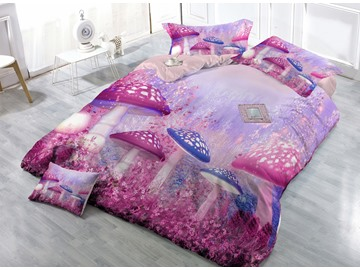 Customized Digital Print Fairy World 4-Piece Cotton Duvet Cover Sets