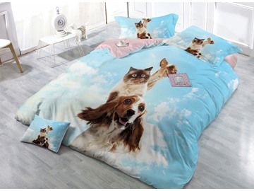 Cute Cat and Dog Digital Print 4-Piece Cotton Duvet Cover Sets