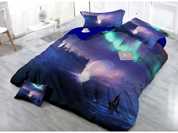 Miraculous Interstellar Landscape Digital Print 4-Piece Cotton Duvet Cover Set