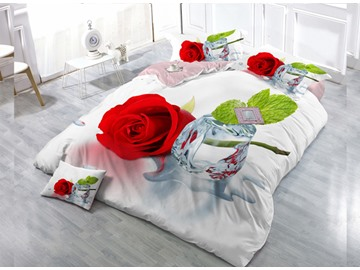 Rose  Digital Print 4-Piece Cotton Duvet Cover Set