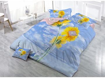 Sunflower  Digital Print 4-Piece Cotton Duvet Cover Set