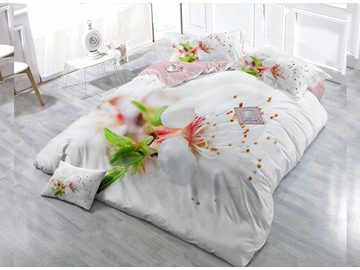 White Flower  Digital Print 4-Piece Cotton Duvet Cover Set