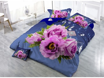 Pink Roses Digital Print 4-Piece Cotton Duvet Cover Set