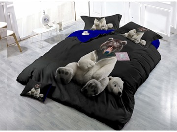 Polar Bears Wear-resistant Breathable High Quality 60s Cotton 4-Piece 3D Bedding Sets