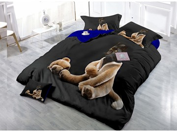 Funny Coats Animal  Digital Print 4-Piece Cotton Duvet Cover Set