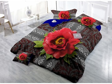 Top Grade Red Flowers Digital Print 4-Piece Cotton Duvet Cover Set