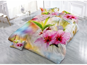Blooming Flower  4-Piece High Density Satin Drill Duvet Cover Sets