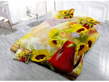 In A Bottle Of Sunflower 4-Piece High Density Satin Drill Duvet Cover Sets