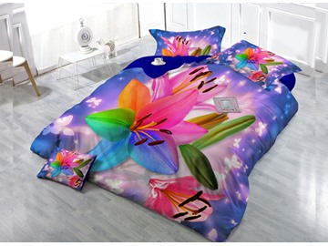 Gorgeous Dreamlike Flower Wear-resistant Breathable High Quality 60s Cotton 4-Piece 3D Bedding Sets
