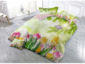 Greenery Blossom 4-Piece High Density Satin Drill Duvet Cover Sets