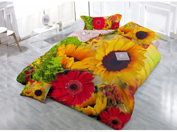 Yellow Sunflower and Red Daisy Wear-resistant Breathable High Quality 60s Cotton 4-Piece 3D Bedding Sets