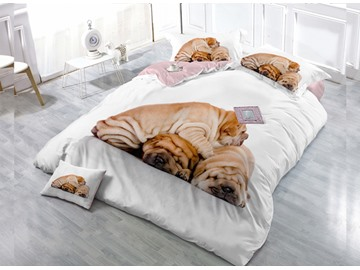 Cute Dog  4-Piece High Density Satin Drill Duvet Cover Sets
