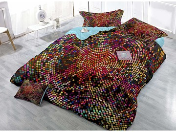 Colorful Polka Dot Wear-resistant Breathable High Quality 60s Cotton 4-Piece 3D Bedding Sets