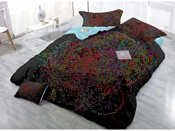 High-Definition Small Colorful Dots Digital Printing 4-Piece Duvet Cover Sets