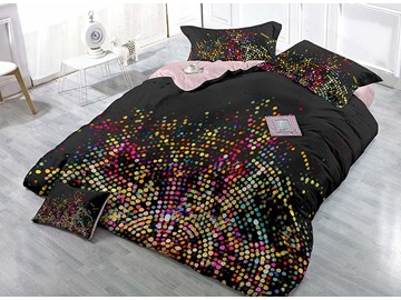 Fashion Black Colorful Polka Dots Wear-resistant Breathable High Quality 60s Cotton 4-Piece 3D Bedding Sets