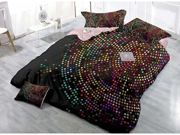 Sparkly Polka Dot High Density Satin Drill 4-Piece Duvet Cover Sets