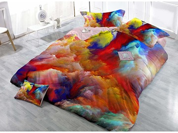 Gorgeous Abstract Colors Wear-resistant Breathable High Quality 60s Cotton 4-Piece 3D Bedding Sets