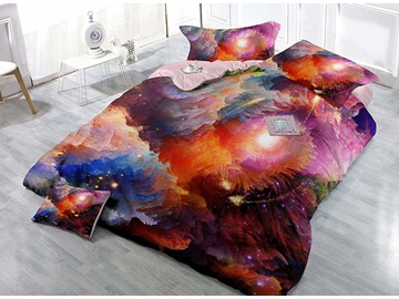 Mysterious Colorful Galaxy Wear-resistant Breathable High Quality 60s Cotton 4-Piece 3D Bedding Sets