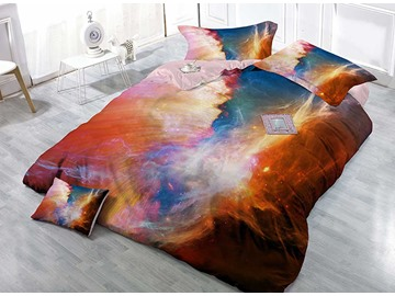 Colorful Milky Way Wear-resistant Breathable High Quality 60s Cotton 4-Piece 3D Bedding Sets