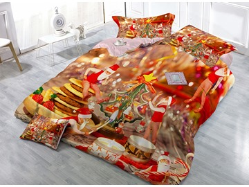 Cheerful Santa Claus Print Satin Drill 4-Piece Christmas Duvet Cover Sets