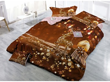 Brown Reindeer Christmas Gift Print Satin Drill 4-Piece Duvet Cover Sets