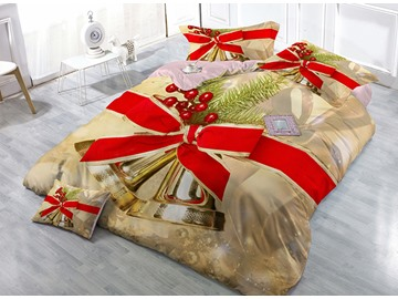 Jingle Bell Christmas Decor Print Christmas 4-Piece Duvet Cover Sets