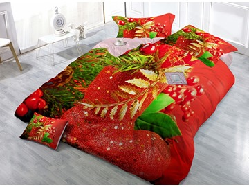 Christmas Decor Print Satin Drill 4-Piece Red Duvet Cover Sets