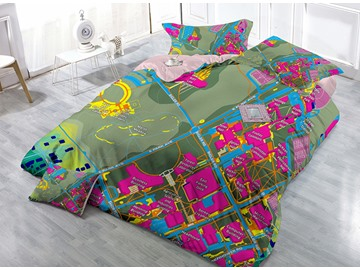 Creative City Traffic Line Print Satin Drill 4-Piece Duvet Cover Sets
