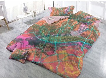 Creative Traffic Line Design Satin Drill 4-Piece Duvet Cover Sets