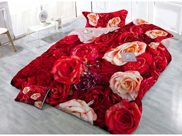 Vivacious Red Flowers Print Satin Drill 4-Piece Duvet Cover Sets