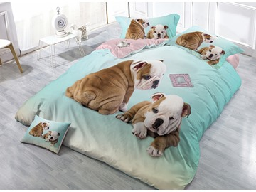 Khaki Bulldog Light Blue Satin Drill 4-Piece Duvet Cover Sets