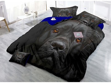 Cool Docile Black Dog Wear-resistant Breathable High Quality 60s Cotton 4-Piece 3D Bedding Sets