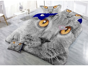 Spunky Gray Cat Print Satin Drill 4-Piece Cotton Duvet Cover Sets