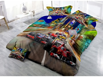 Cool Car Print Luxury Satin Drill 4-Piece Duvet Cover Sets