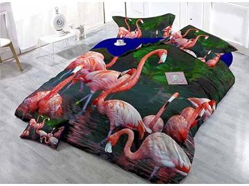 3D Flamingo Digital Printing Satin Drill 4-Piece Duvet Cover Sets