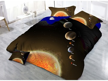 Super Cool Planets Wear-resistant Breathable High Quality 60s Cotton 4-Piece 3D Bedding Sets