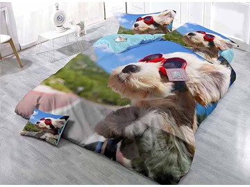 Cool Dog Wearing Sun Glass Wear-resistant Breathable High Quality 60s Cotton 4-Piece 3D Bedding Sets