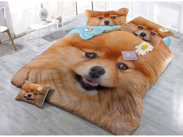 Lovely Smile Dog Wear-resistant Breathable High Quality 60s Cotton 4-Piece 3D Bedding Sets