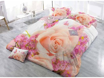 Romantic 3D Rose Digital Printing Classy Satin Drill 4-Piece Duvet Cover Sets