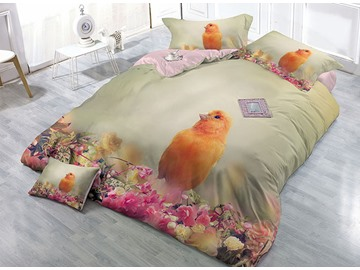 Lovely Bird and Flowers Printing Satin Drill 4-Piece Duvet Cover Sets