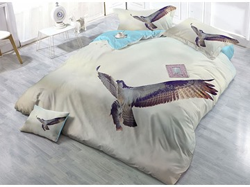 Freely Flying Eagle Digital Printing 4-Piece Satin Drill Duvet Cover Sets