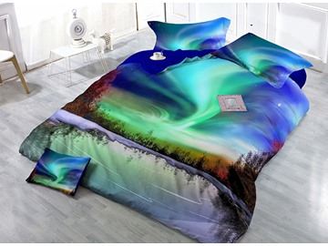 Aurora Scenery Digital Printing Satin Drill 4-Piece Duvet Cover Sets