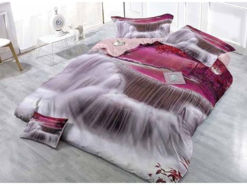 Dreamlike Purple Waterfall Digital Printing 4-Piece Satin Drill Duvet Cover Sets