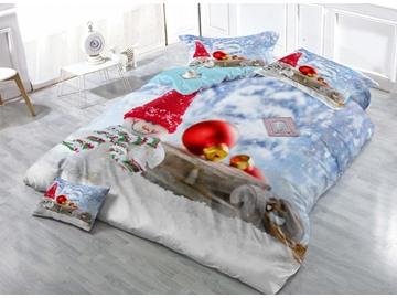 Popular Snowman Digital Printing Satin Drill 4-Piece Duvet Cover Sets