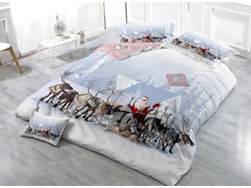 Adorable Santa Claus and Reindeer Print Satin Drill 4-Piece Duvet Cover Sets