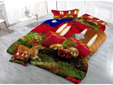 Christmas Candle Digital Printing Satin Drill 4-Piece Duvet Cover Sets