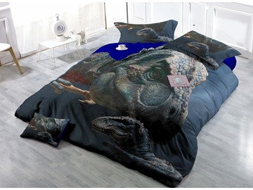 Chic Legendary Dinosaur Wear-resistant Breathable High Quality 60s Cotton 4-Piece 3D Bedding Sets